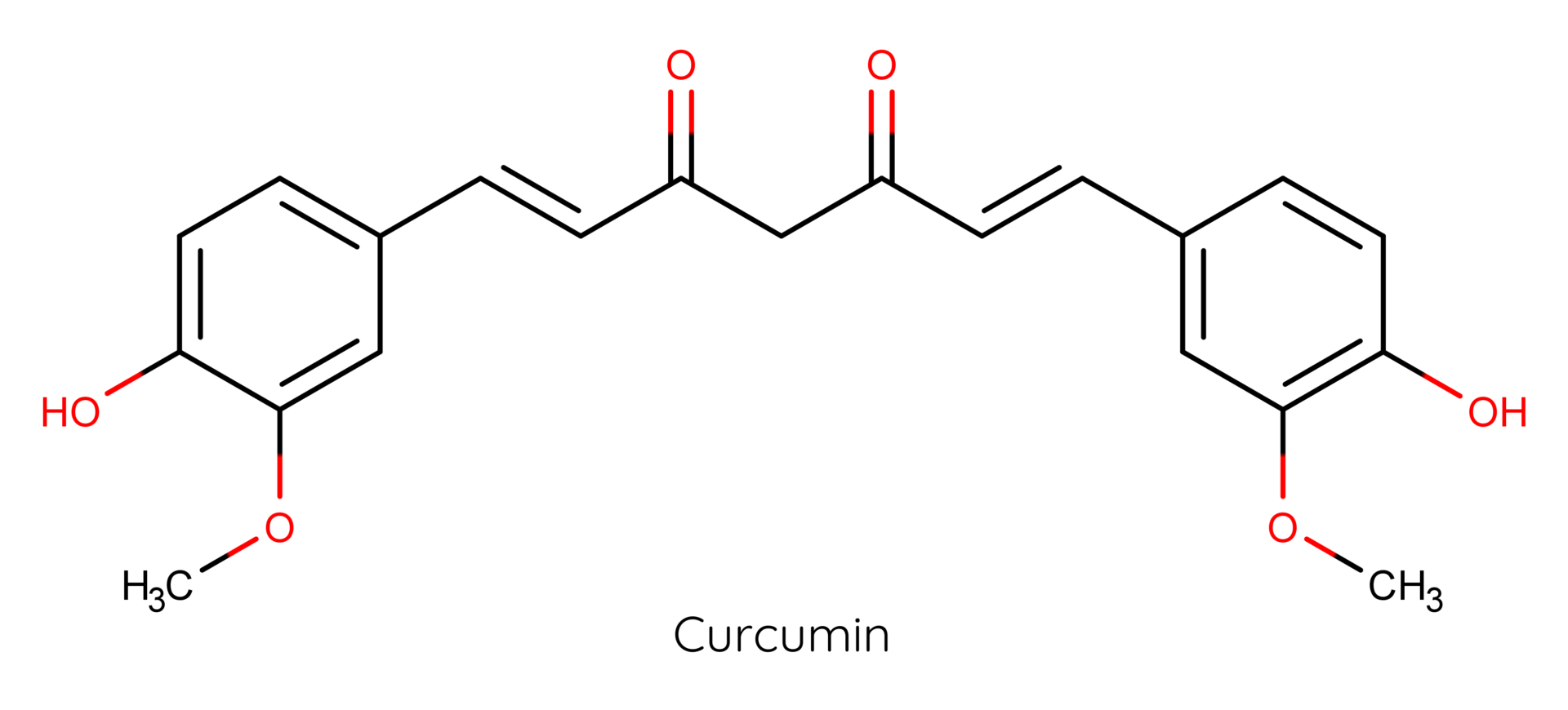 Molekül des sekundären Pflanzenstoffs Curcumin