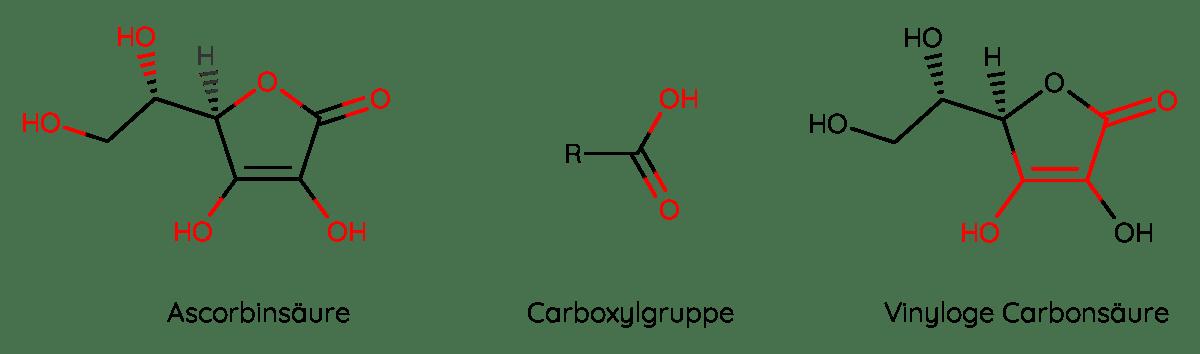 Vitamin C ist eine vinyloge Carbonsäure und keine klassische Carbonsäure.